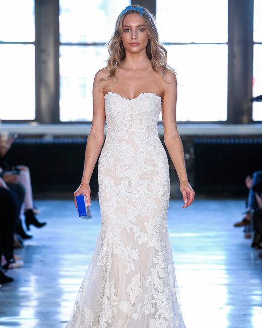watters wedding dress spring 2019 strapless lace embroidered trumpet