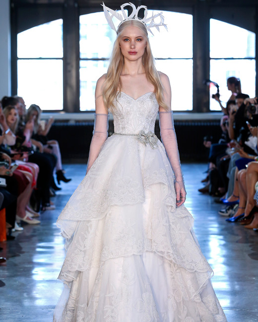watters wedding dress spring 2019 tiered ballgown crystal belt