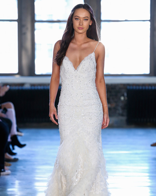 watters wedding dress spring 2019 spaghetti-strap skirt details