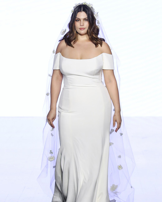 watters off the shoulder trumpet wedding dress spring 2020