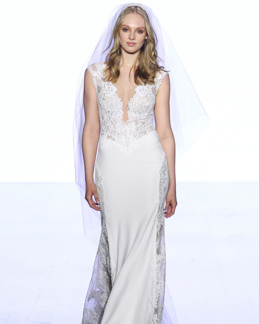 watters floral applique sheath wedding dress spring 2020