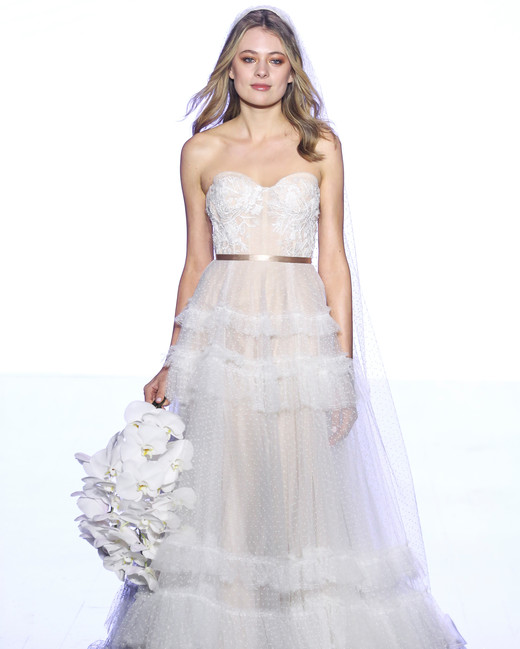 watters semi-sweetheart with ruffles wedding dress spring 2020