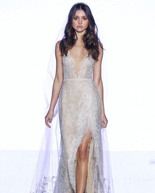 watters sheath with high slit wedding dress spring 2020