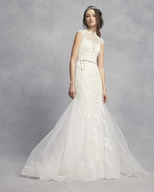 white vera wang spring 2019 wedding dress illusion high neck