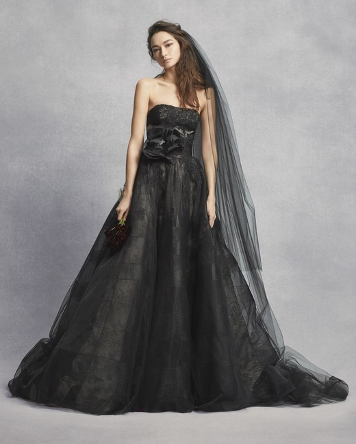 white vera wang spring 2019 wedding dress black strapless