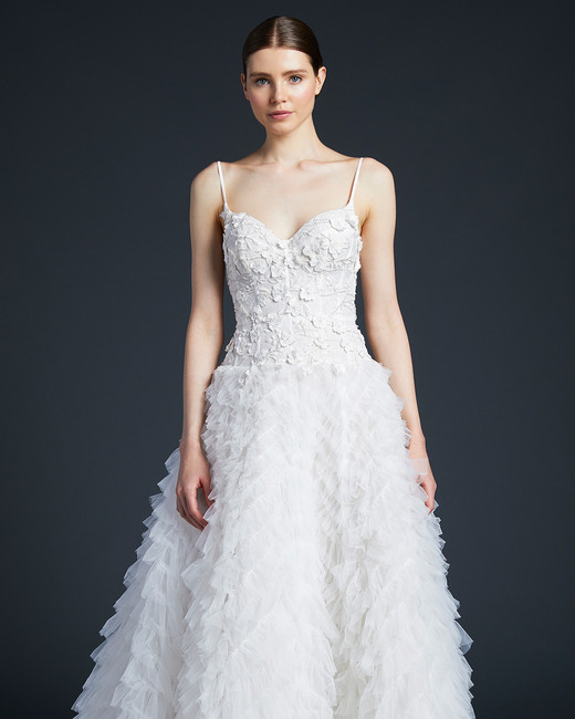 anne barge spaghetti strap feathers wedding dress fall 2019