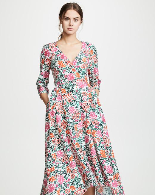 spring bridal shower dress floral print long sleeve v-neck