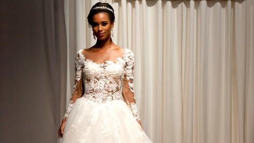 casablanca fall 2018 lace long sleeve chiffon ballgown wedding dress