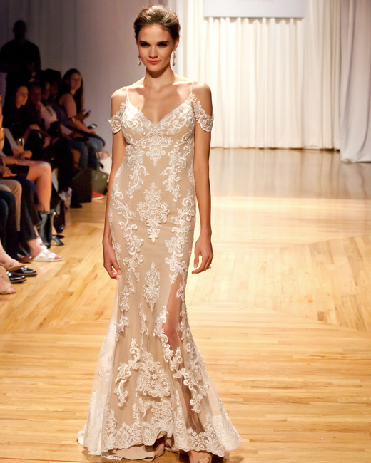 casablanca fall 2018 lace off-shoulder wedding dress