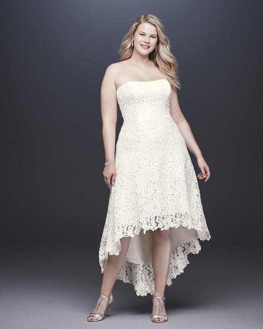 davids bridal galina fall 2019 high low strapless lace overlay