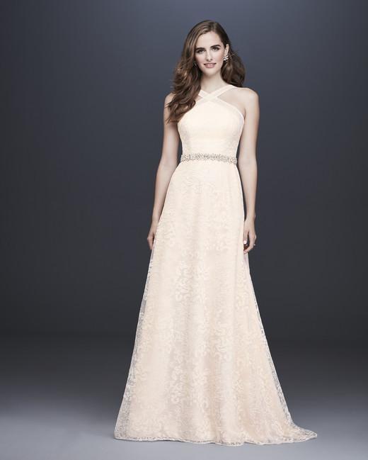 davids bridal galina fall 2019 a line halter light pink lace overlay beaded belt
