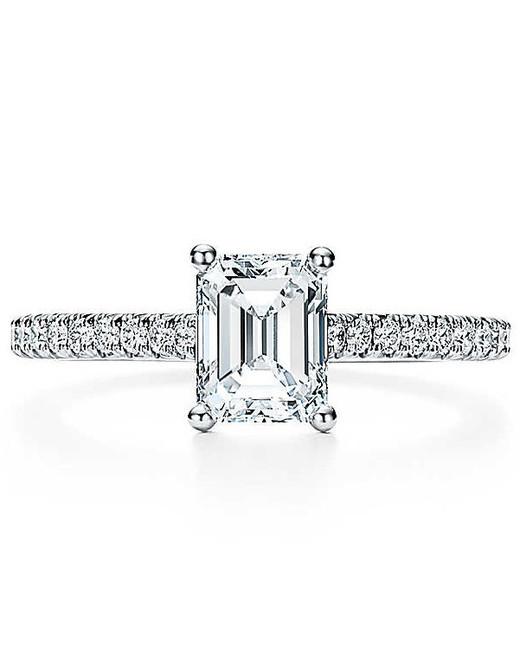 emerald cut ring thin platinum diamond set band