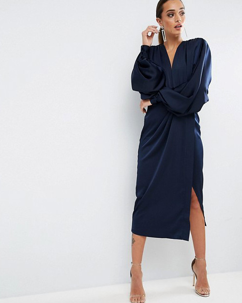 blue long sleeve gown