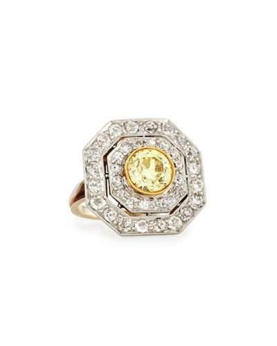 """NM Estate """"Edwardian"""" Octagonal Yellow Diamond Cluster Ring"""