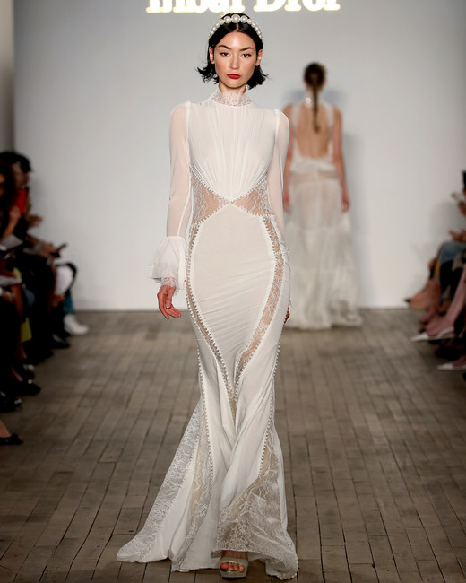inbal dror wedding dress high neck with vertical skirt cutouts