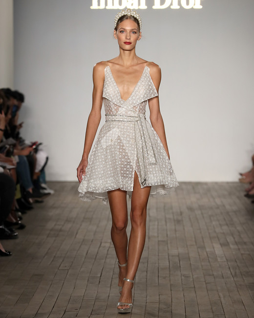 inbal dror wedding dress short collared a-line with sash