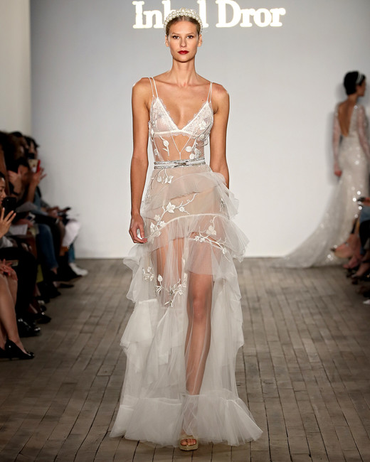 inbal dror wedding dress sheer spaghetti strap with tiered skirt