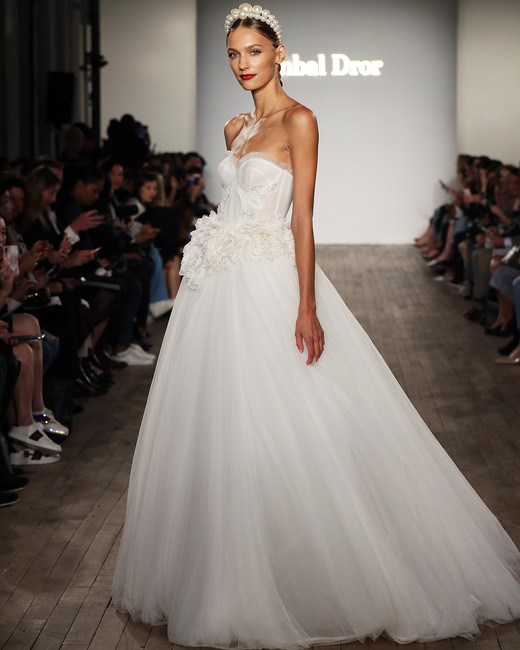 inbal dror wedding dress ball gown with applique flowers at waist