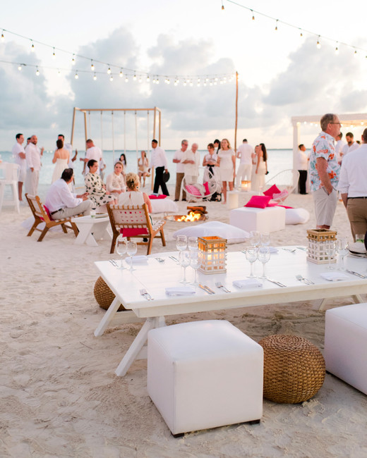 pink and white chic minimalistic welcome party set up
