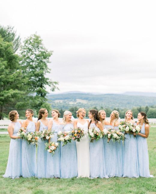 lauren josh wedding bridesmaids in blue dresses