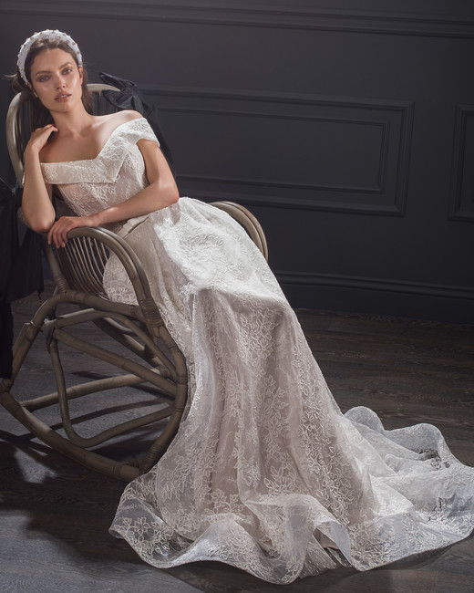 off-the-shoulder lace belted a-line wedding dress Lihi Hod Spring 2020