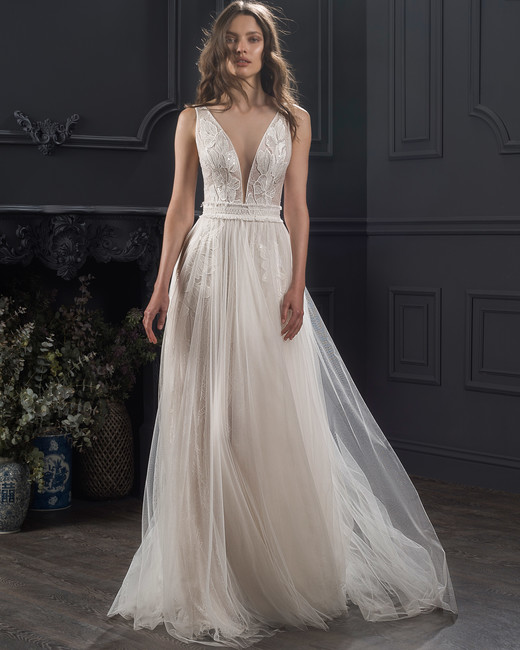 wide strap sleeveless deep v-neck tulle a-line wedding dress Lihi Hod Spring 2020