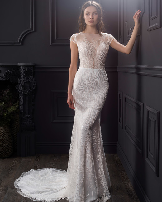 illusion boat neck cap sleeve lace a-line wedding dress Lihi Hod Spring 2020
