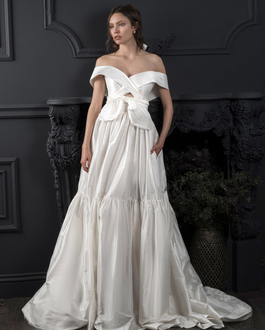 off-the-shoulder knot front keyhole a-line wedding dress Lihi Hod Spring 2020