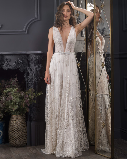 deep v-neck thick strap sleeveless glitter lace a-line wedding dress Lihi Hod Spring 2020