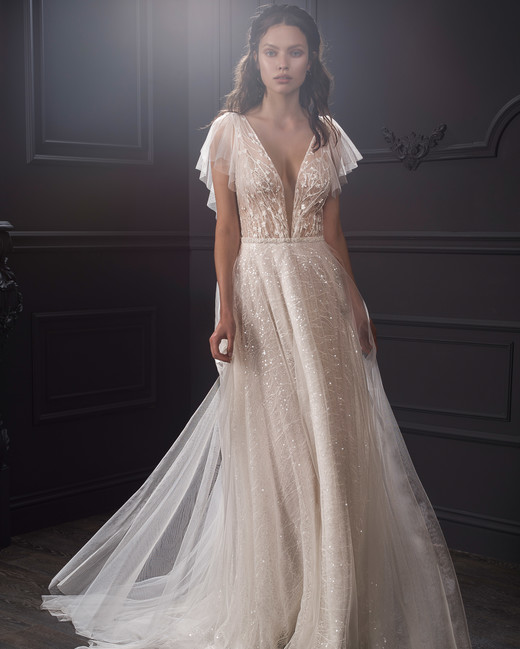 sheer lace bodice flutter sleeves glitter tulle a-line wedding dress Lihi Hod Spring 2020