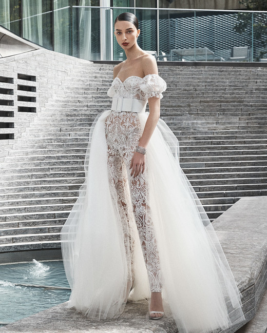 naeem khan wedding dress off the shoulder lace jumpsuit with tulle over skirt