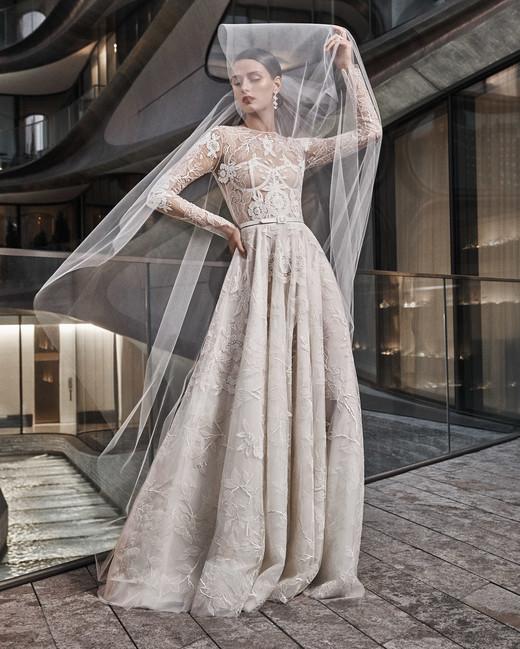 naeem khan wedding dress long sleeves lace a-line