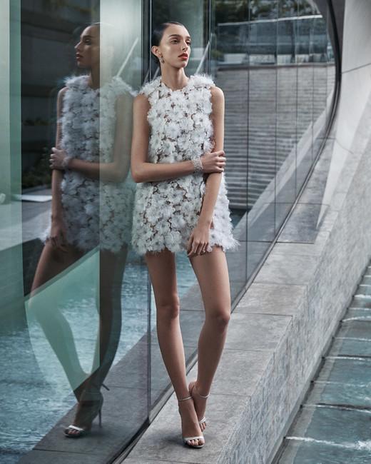 naeem khan wedding dress short sleeveless 3D floral applique