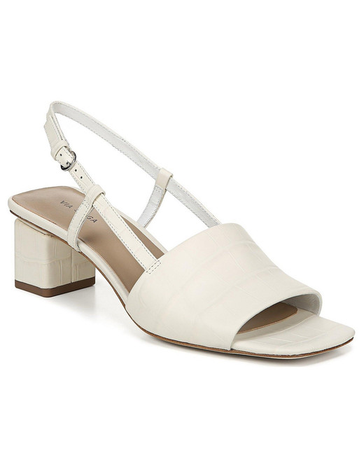 outdoor wedding shoes white leather block heel sandals