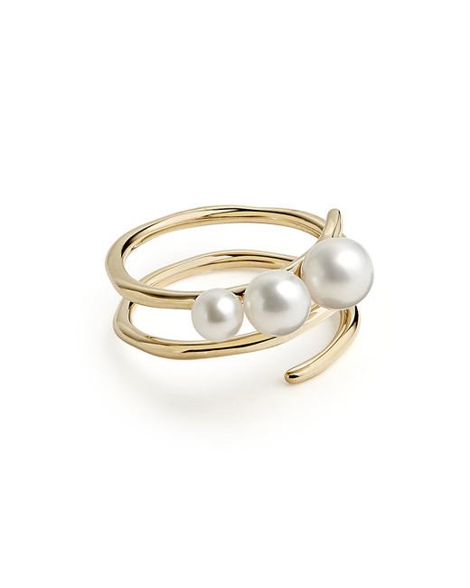 "Ippolita 18-Karat ""Nova"" Spiral Triple-Bead Ring"