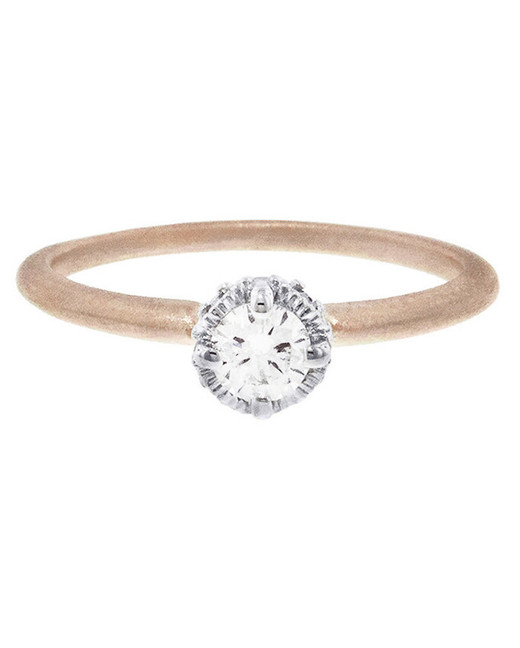 round cut ring thin rose gold band