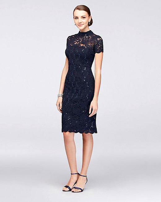 Onyx High-Neck Illusion Lace Dress