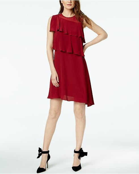 marella luca red tiered illusion a-line dress