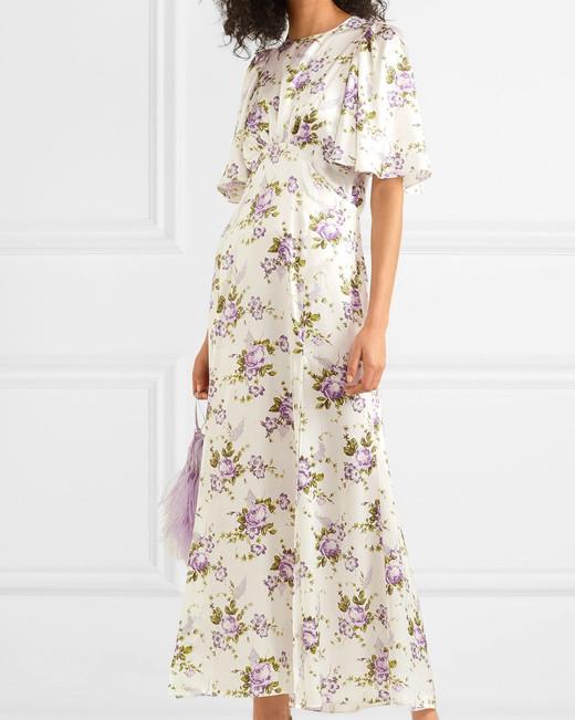 Les Reveries Floral-Print Silk-Charmeuse Maxi Dress