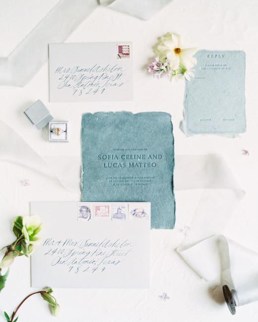 deckled edge teal vintage invite