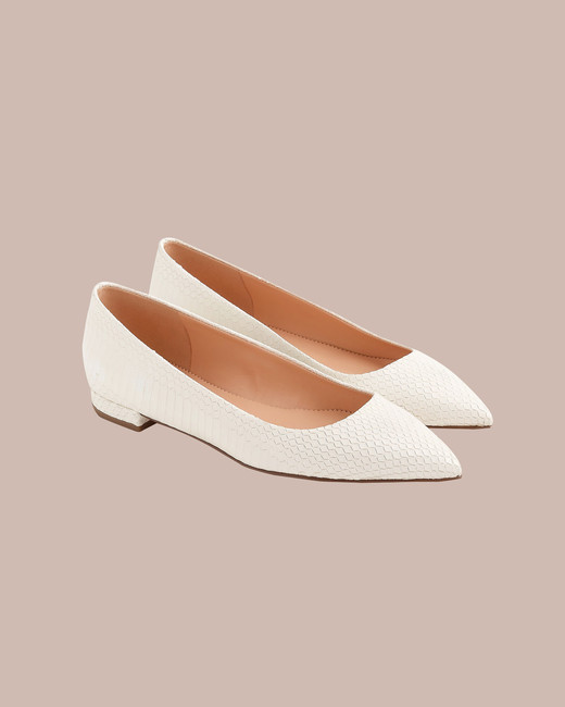 J. Crew Pointed-Toe Flats in Snakeskin-Printed Leather