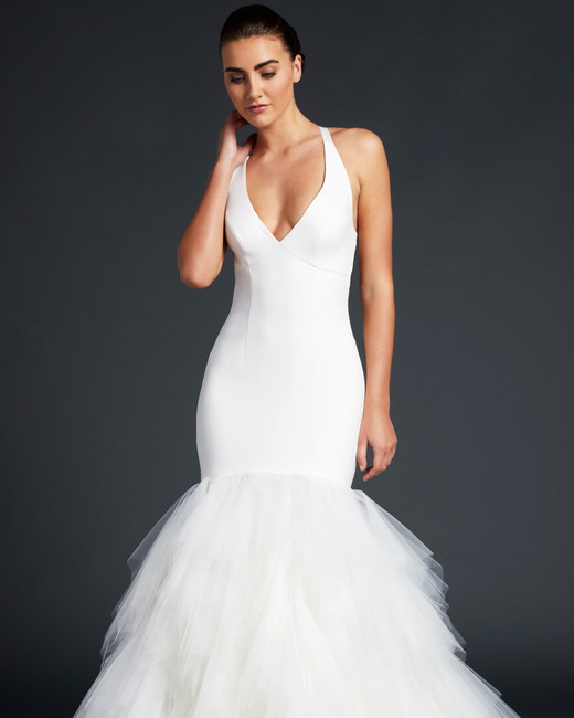 blue willow wedding dress halter deep v-neck trumpet tulle