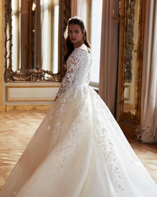 elie saab wedding dress spring 2019 ballgown long sleeves embroidered