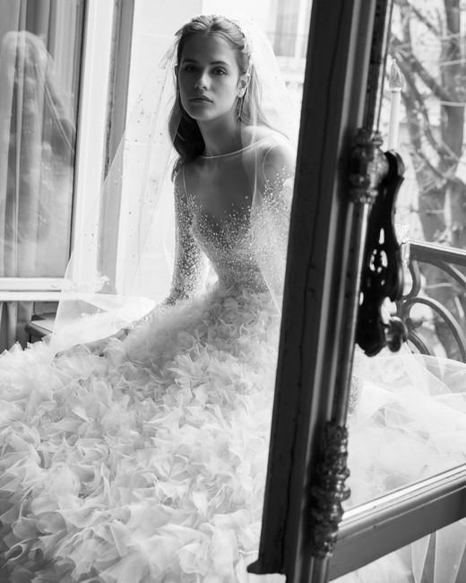 elie saab wedding dress spring 2019 ballgown long sleeves ruffles