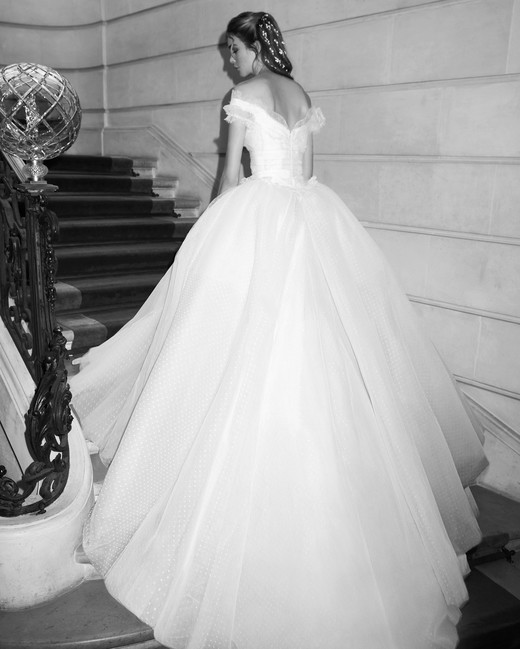 elie saab wedding dress spring 2019 off the shoulder tulle ballgown back