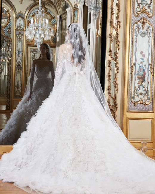elie saab wedding dress spring 2019 ruffles long sleeves back