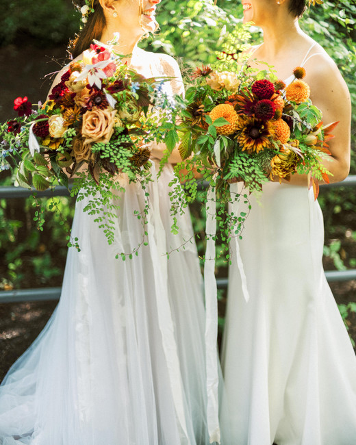 fall colored florals and greenery bridal wedding bouquets