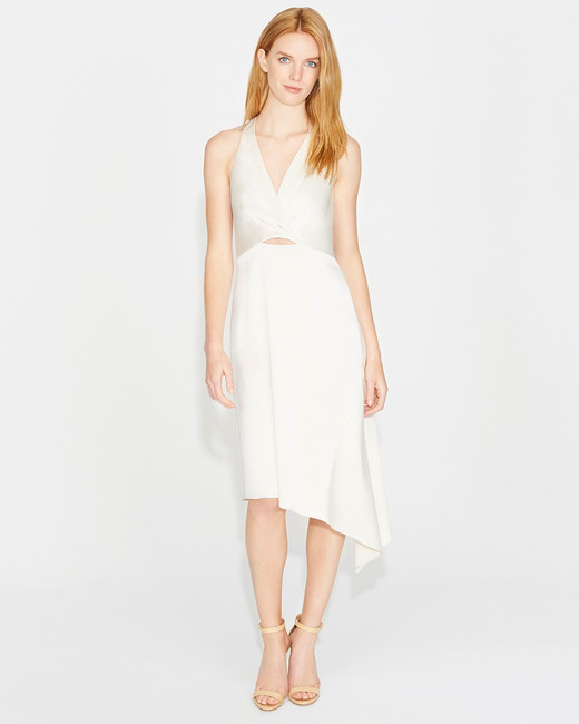 halston twist drape satin dress