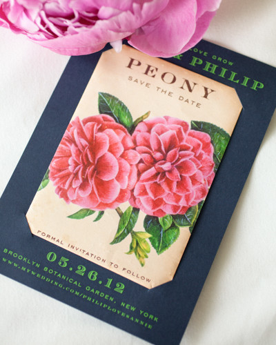 navy and tan stationary with peony design and green wording