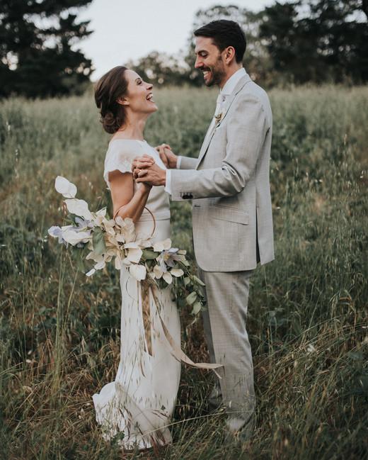 hoop bouquets jonnie and garrett bride and groom